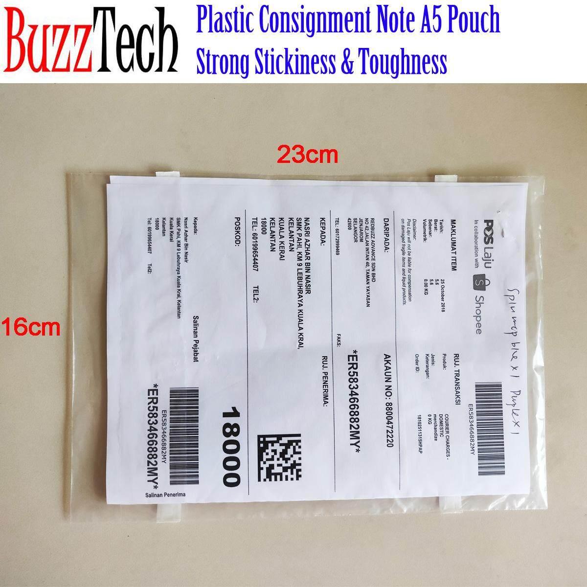 BuzzTech 100/500/1000pcs Plastic Courier Consignment Note Document A5 Pouch