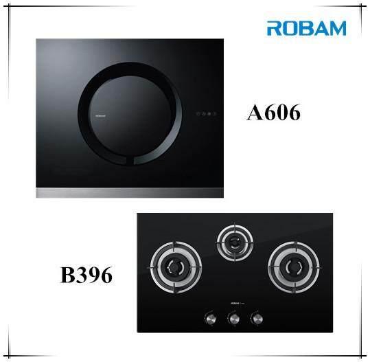 ROBAM A606 Chimney Hood + B396 3 Burners Glass Hoob