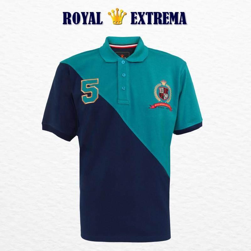 ROYAL EXTREMA BIG SIZE Men's Pique Polo Cut & Sew Tee RE2007 (Navy)