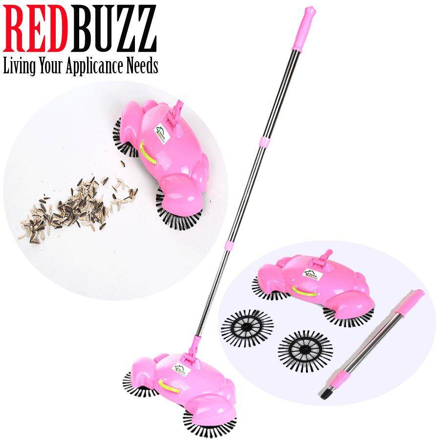 REDBUZZ Crab Design Fully Automatic Hand Push Sweeping Machine Magic broom House Cleaner Sweeper (Pink)
