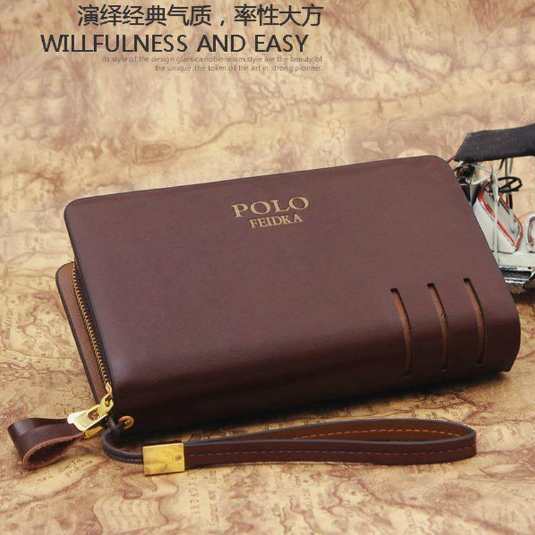 POLO FEIDKA Genuine Leather Clutch Bag Men Long Wallet Hand Carry Bag +Free Gift MI0222