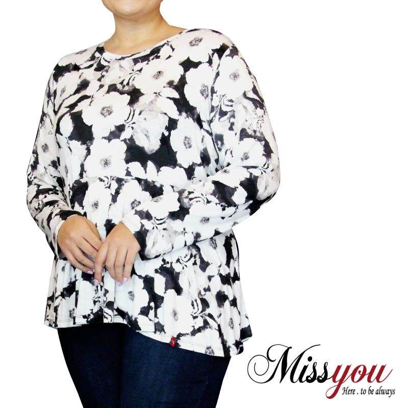 MISS YOU PLUS SIZE Long Sleeve Blouse MY900007 (Black)