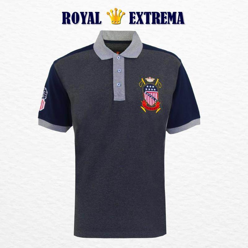 ROYAL EXTREMA BIG SIZE Men's Pique Polo Cut & Sew Tee RE2008 (Charcoal)