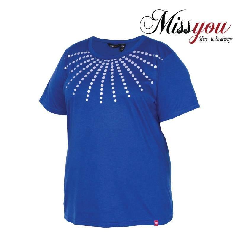 MISS YOU PLUS SIZE Printed Round Neck T-Shirt MY100009 (Midnight Blue)