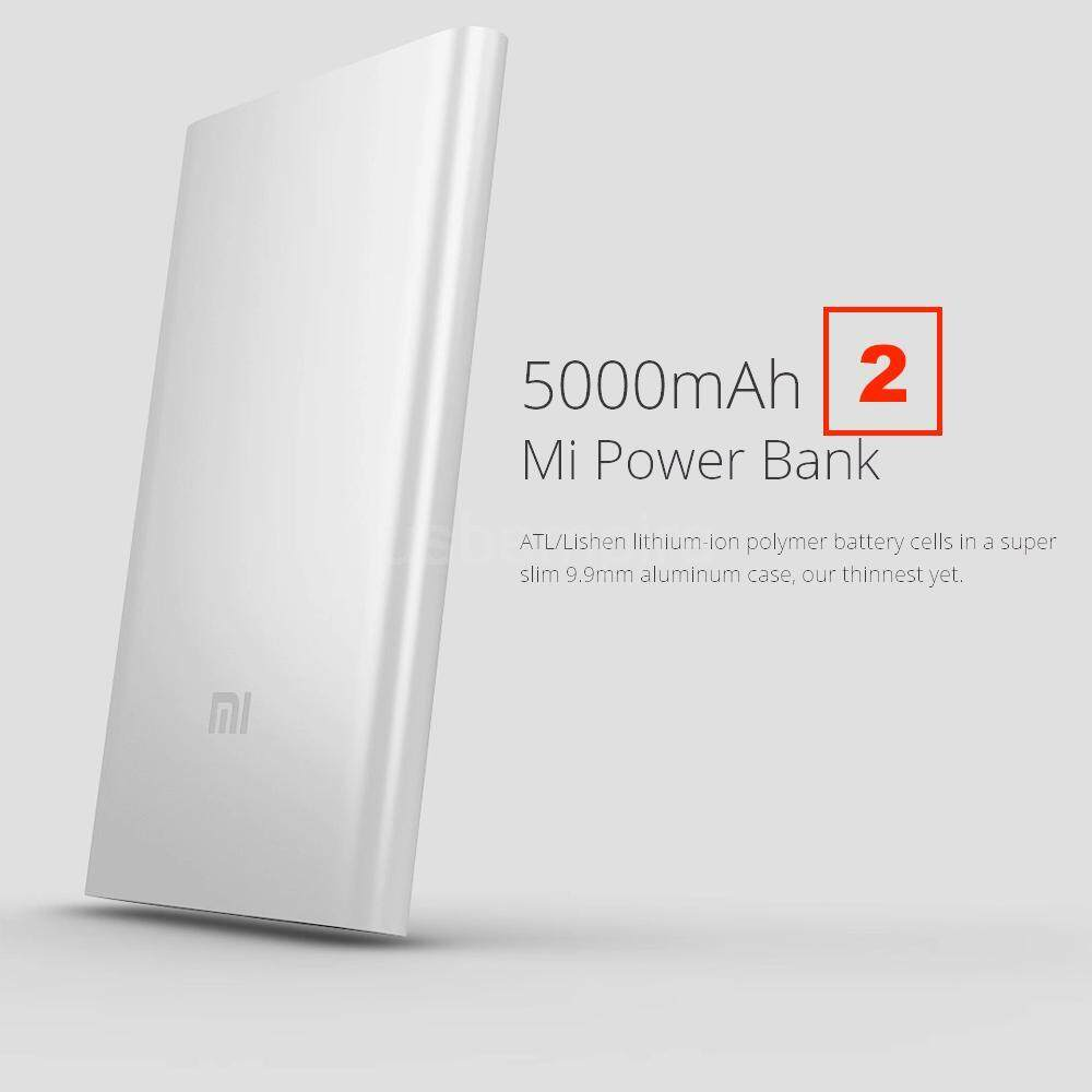 XIAOMI Mi Power Bank PowerBank 5000mah V2 100% Genuine Original 5000 Mah version 2 Slim Silver
