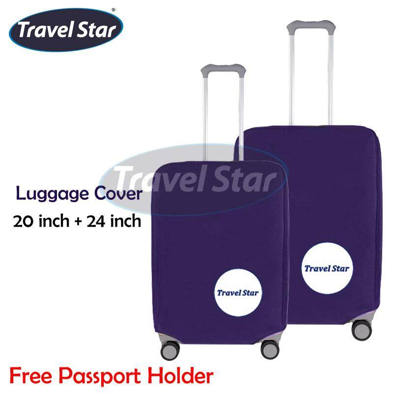 BUNDLE : TRAVEL STAR 2 IN 1 Luggage Protector Cover (20+24 INCH) - Dark Blue + Free Passport Holder
