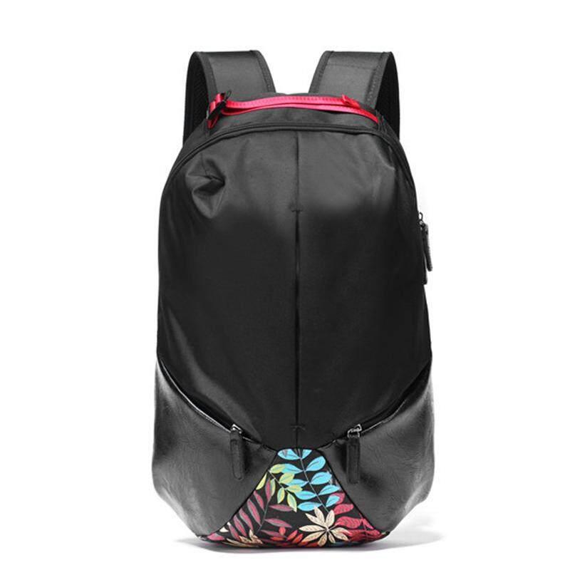 Men Leather Canvas Travel Backpack Laptop Bag Casual Floral Design Black Beg 306 MI3061
