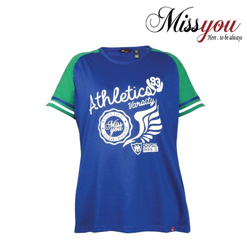 MISS YOU PLUS SIZE Ladies Casual Cut & Sew Raglan Short Sleeves MY100015 (Blue)