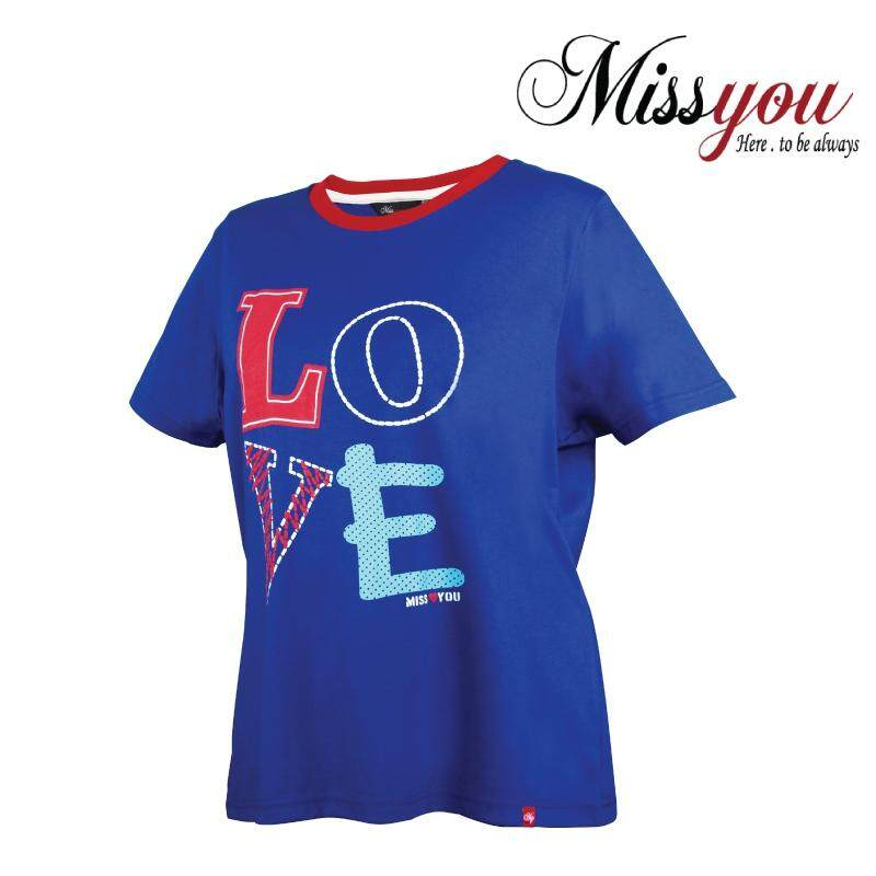 MISS YOU PLUS SIZE 100% Cotton Printed Round Neck T-shirt MY100012 (Royal Blue)