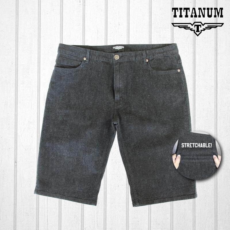TITANUM BIG SIZE Enzymed-Wash Shorts Stretch Grey Black TJS509 (Black)