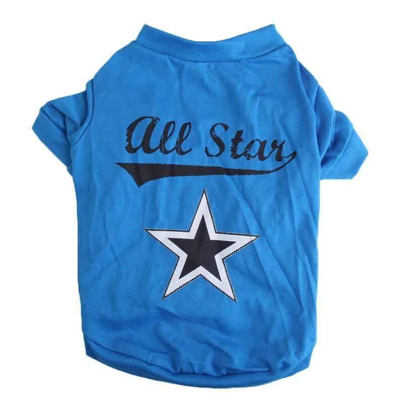 Cute little pet T shirt puppy cat apparel dog clothes best star print blue (XS
