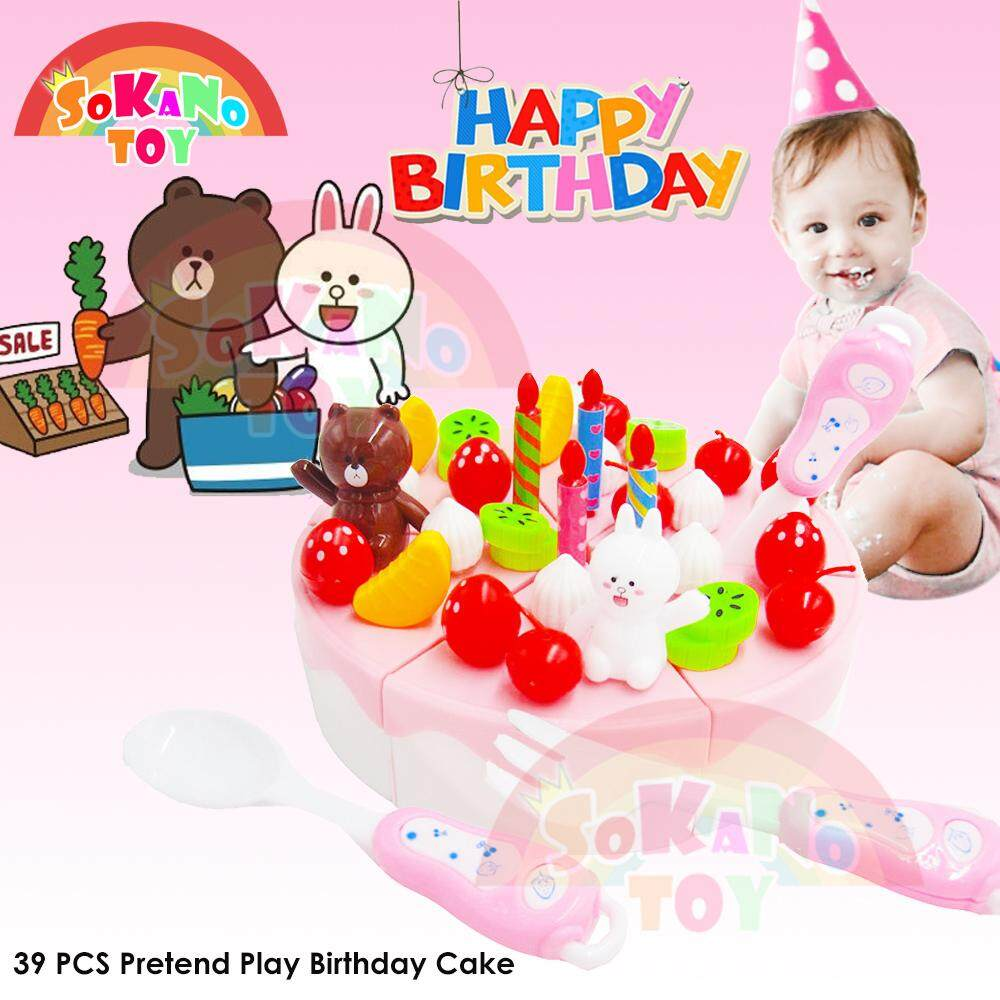 SOKANO TOY 39 PCS Pretend Play Birthday Cake DIY Cutting Fruit Birthday Cake Food Play Toy Set toys for girls