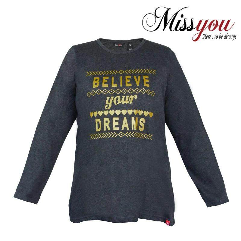 MISS YOU PLUS SIZE Ladies Casual Round Neck Long Sleeves with Printing MY300014 (Dark Melange)