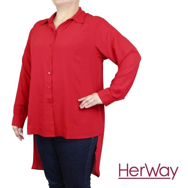 HERWAY PLUS SIZE Ladies Long Sleeves Blouse HW9038 (Red)