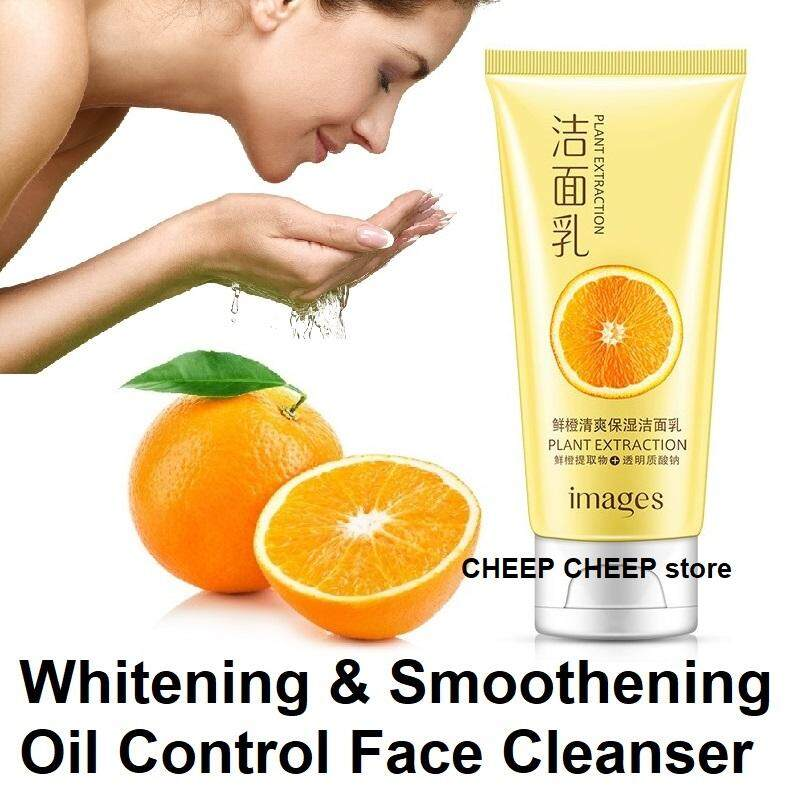 Images ORANGE Plant Extraction Foaming Face Cleanser with Antioxidants – Refreshing Moisturizing Oil Control + Acne Reducing Non Drying Deep Pore Cleansing 120g