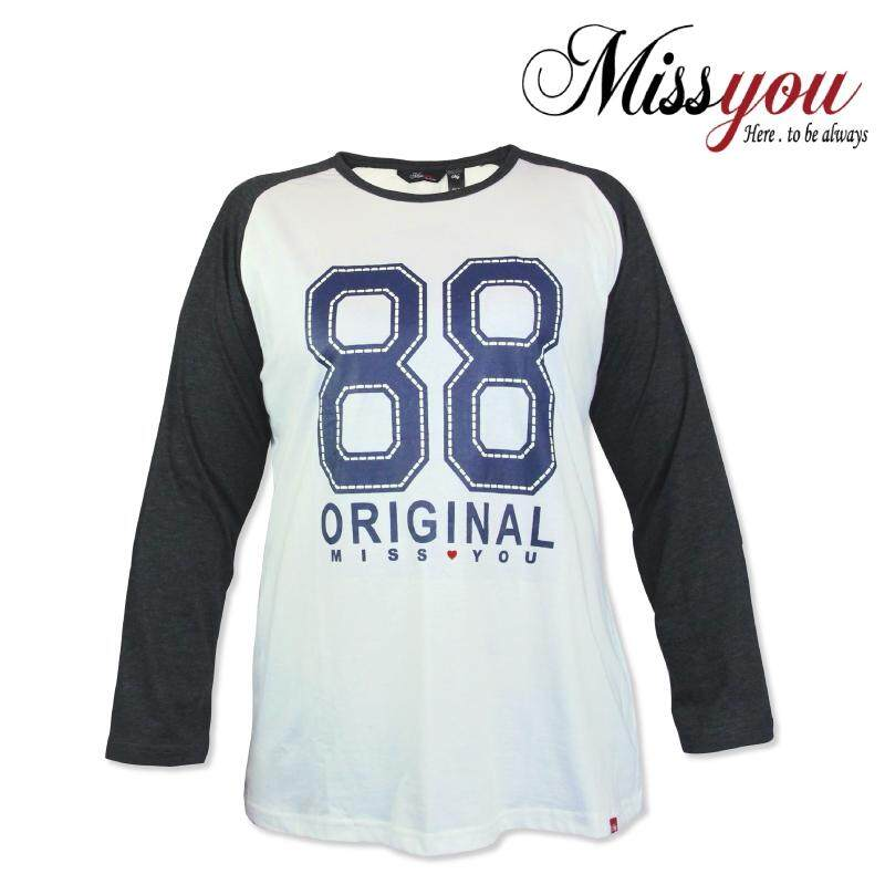 MISS YOU Ladies Casual Raglan Long Sleeves with Piping and Printing MY300017 (Off White)
