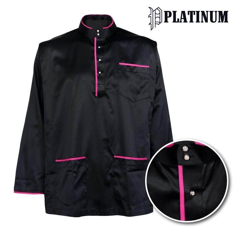 PLATINUM BIG SIZE Microfiber Baju Melayu Traditional with Trimming PM9152 (Black)