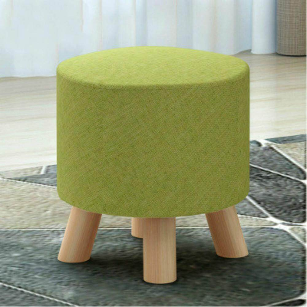 Cloth Solid Wood Small Stool Change Shoe Stool  Green 30*30*29cm