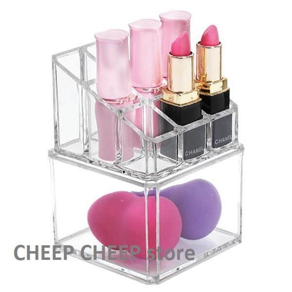 Acrylic Cosmetic Makeup Lipstick Storage Display Stand Rack Holder Organizer Makeup Case Cotton Swab Box
