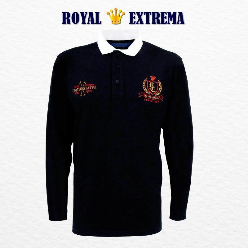 ROYAL EXTREMA BIG SIZE Men's Woven Collar Long Sleeves T-Shirt RE4001 (Black)