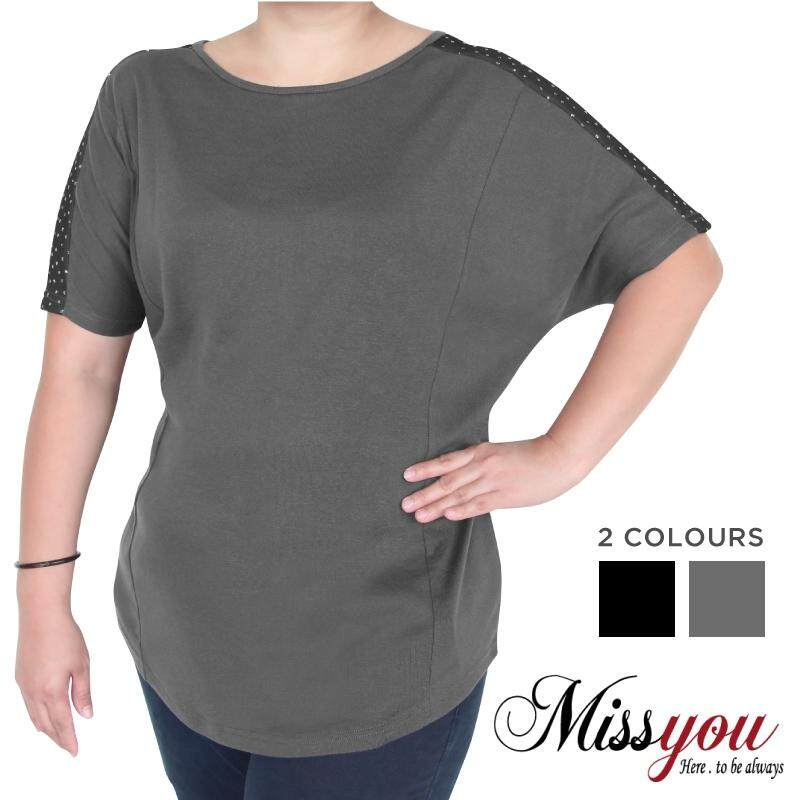 MISS YOU PLUS SIZE Cut & Sew Batwing Shimmer Dots Shirt MY100006 (Dark Grey)
