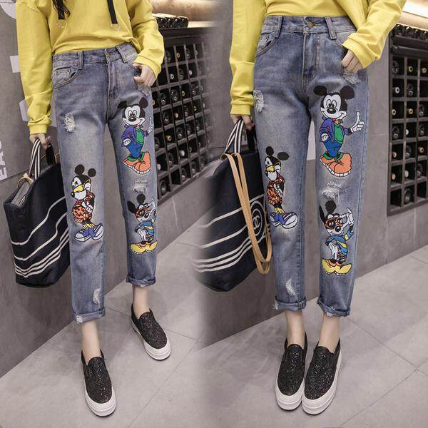 ?PRE-ORDER 21 DAYS?Large Size Plus Loose Jeans Printed Mickey Jean Pants