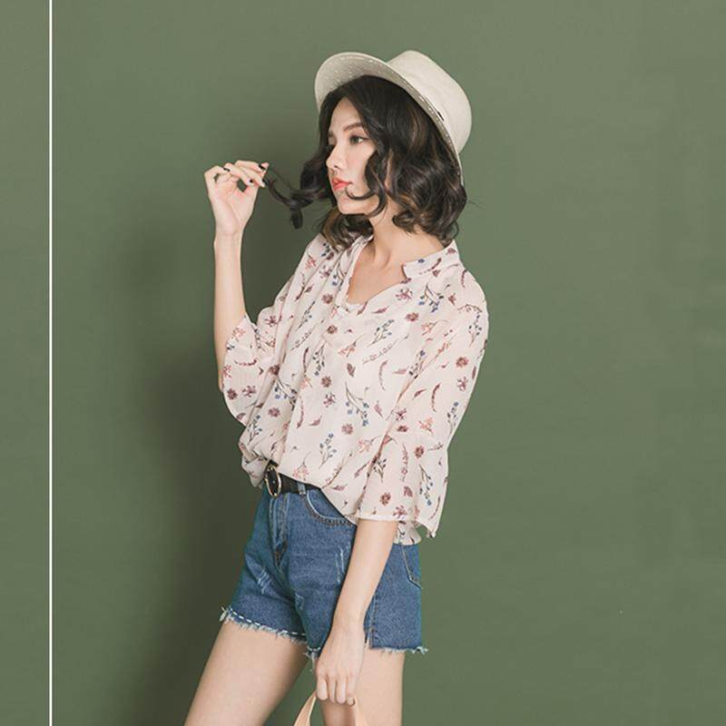 ?PRE-ORDER 21 DAYS?V-neck loose horn short-sleeved lotus leaf chiffon printed shirt two-piece suit