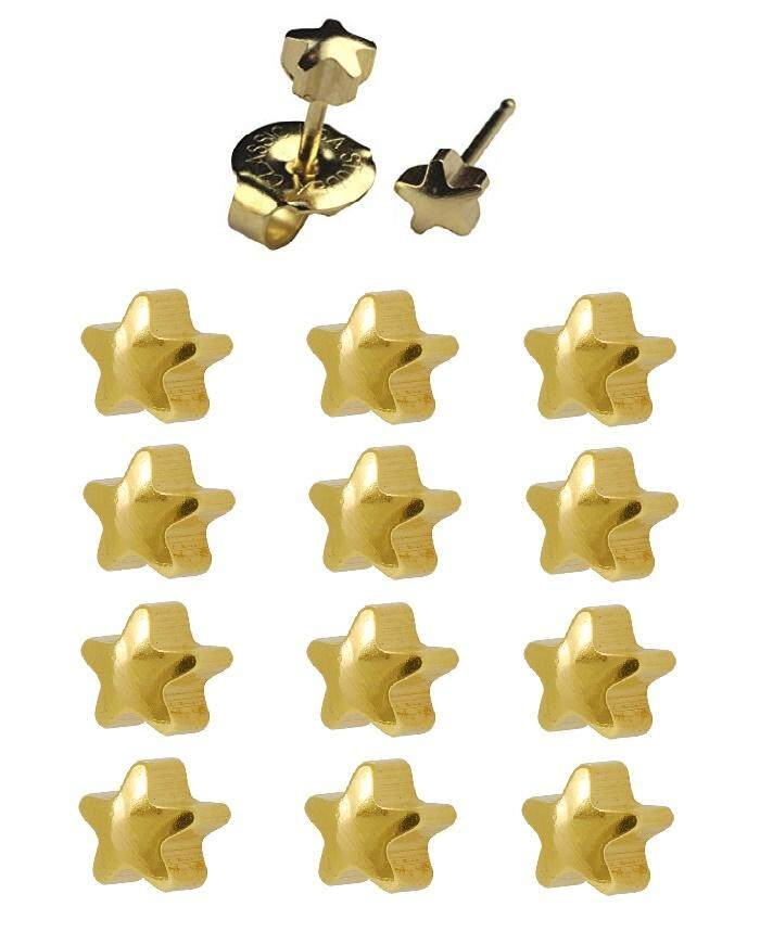 Studex 12 Pairs 4mm Gold plated Star Ear Piercing Stud Earring Set