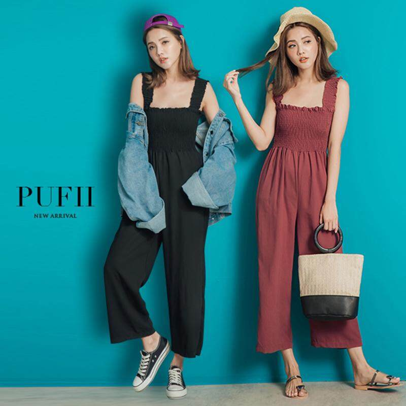 ?PRE-ORDER 21 DAYS?High waist slim fashion wide leg pants wide shoulder strap nine points jumpsuit