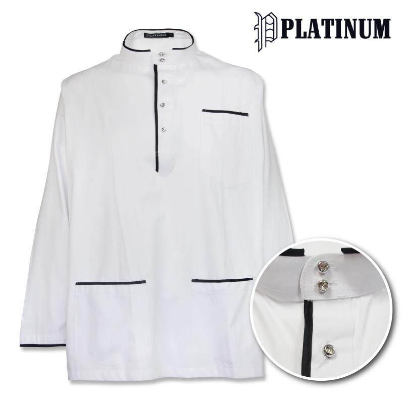 PLATINUM BIG SIZE Microfiber Baju Melayu Traditional with Trimming PM9152 (White)