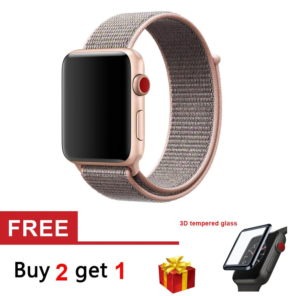 Woven Nylon Strap Soft Breathable Replacement Sport Loop Band for Apple Watch Series 3 2 1
