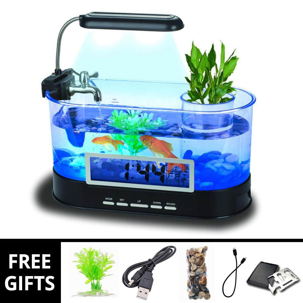 USB Desktop Mini LED Aquarium Fish Tank Stationary Case & Clock Alarm New Design