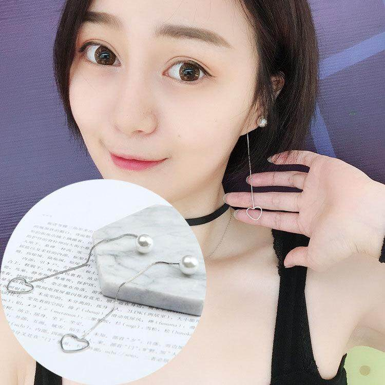 【MegaShop-Fashion】South Korean Simple Long Tassel Lady's Polygon Pearl Ear Nail