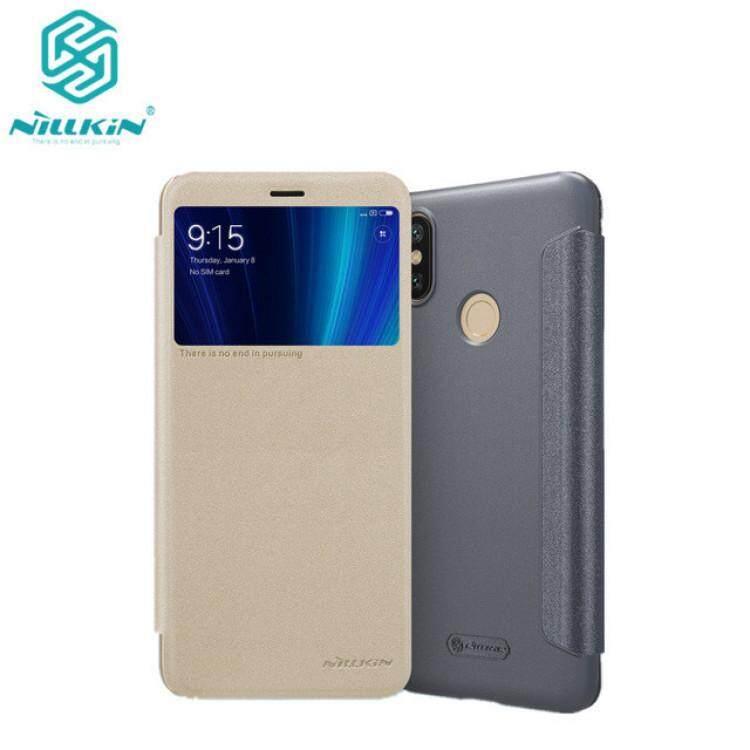 NILLKIN Sparkle Flip Smart Sleep Window PU Leather Case For Xiaomi Mi 6X (Grey/Gold)