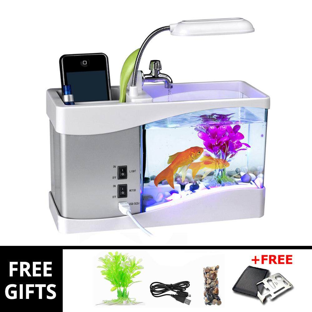 Creative USB DESKTOP MINI LED AQUARIUM FISH TANK STATIONARY CASE & CLOCK