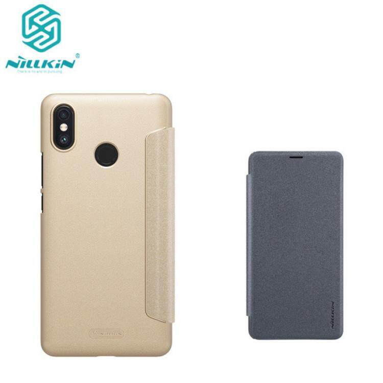 Nillkin Leather Case Sparkle Series Super Thin Flip Cover for Xiaomi Mi Max 3 (Gray/Gold)