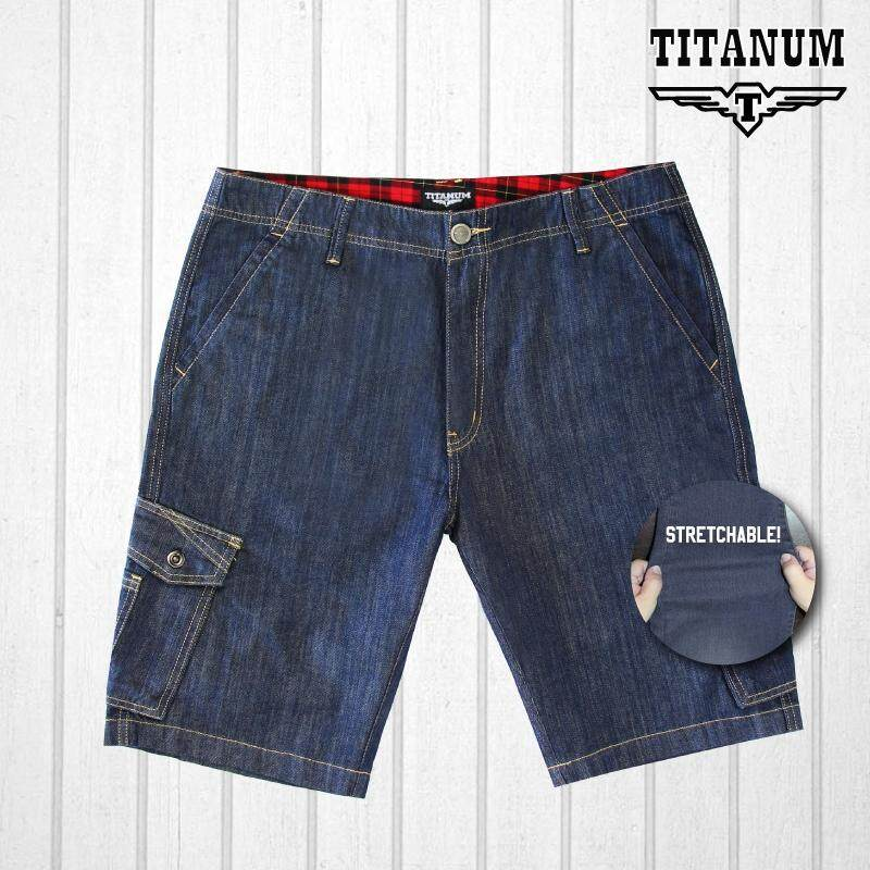 TITANUM BIG SIZE Stretchable Jean Shorts TJSP504 (Blue)
