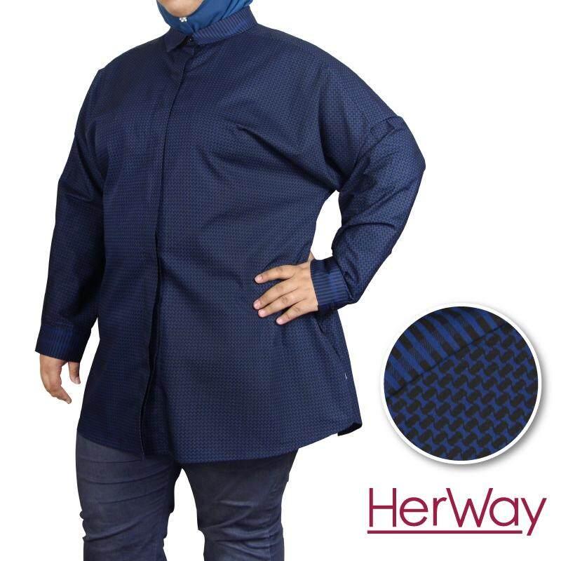 HERWAY PLUS SIZE Formal Long Bat Sleeves Printed Blouse HW9030 (Navy)