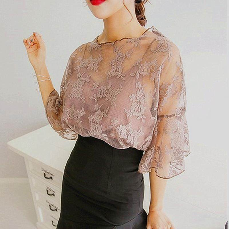 ?PRE-ORDER 21 DAYS?Women Chiffon Blouse O-Neck Tops Crochet Lace Two-piece Short Sleeves Clothing