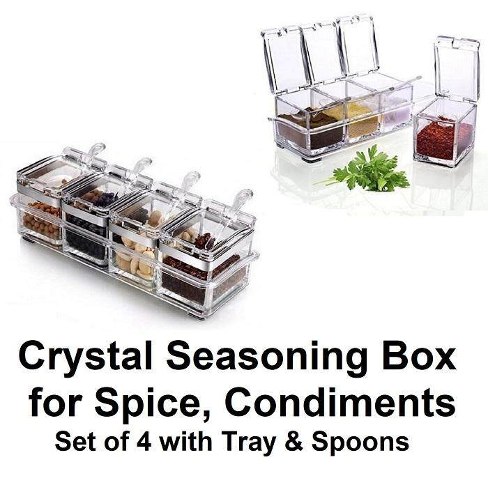 Clear Crystal Seasoning Box – Acrylic Spice Rack Condiment Jar Storage Container (4 piece set with Spoons & Base Tray)