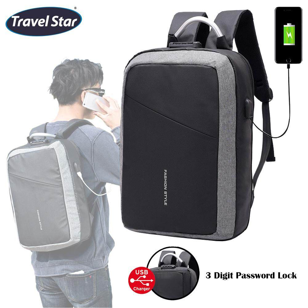 Travel Star 9930 Anti Theft Design Premium Double Strap Travel Backpack with Password Lock (Fit 15.6 inch Laptop)