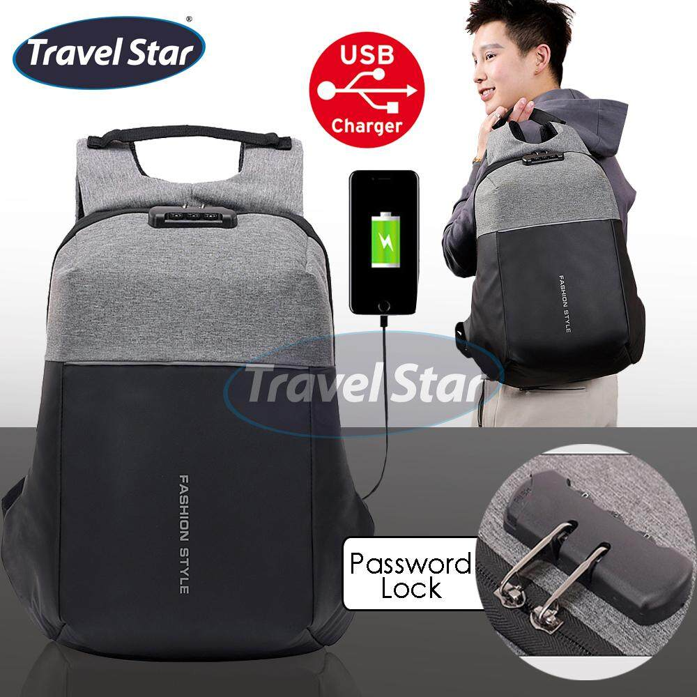 Travel Star 9933 Anti Theft Design Premium Double Strap Travel Backpack with Password Lock (Fit 15.6 inch Laptop)