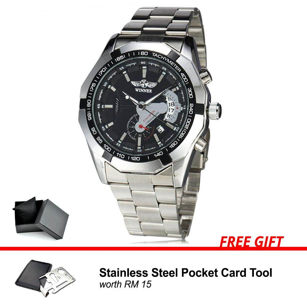 [Attractive Free Gift!] Winner Russian Original Fashion Men Man Automatic Mechanical Watch Stainless Steel 304 Business Watch