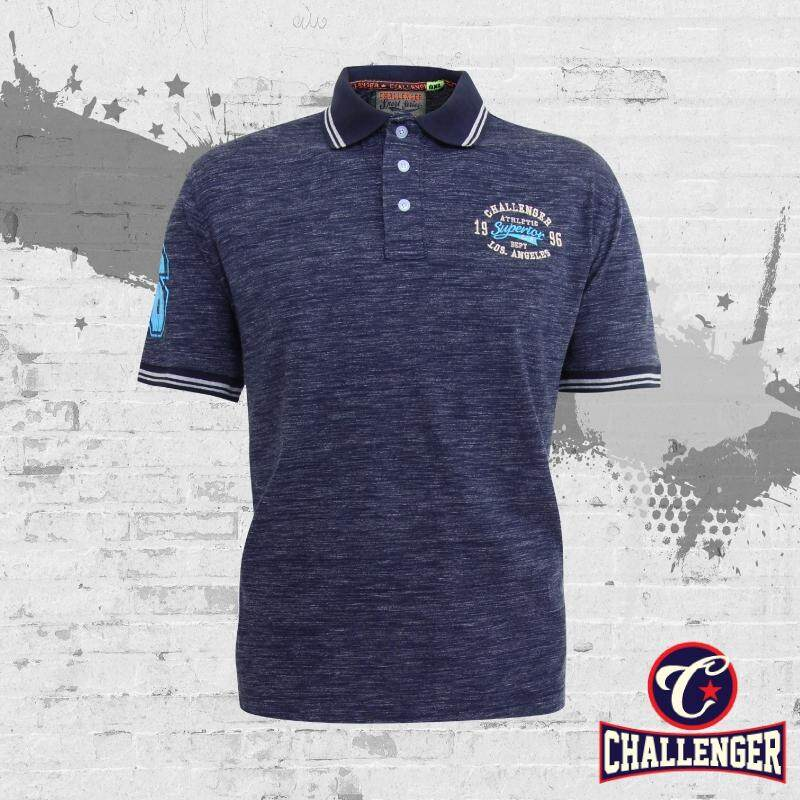 CHALLENGER BIG SIZE Polo T-Shirt with Print & Emblem CH2013 (Navy)
