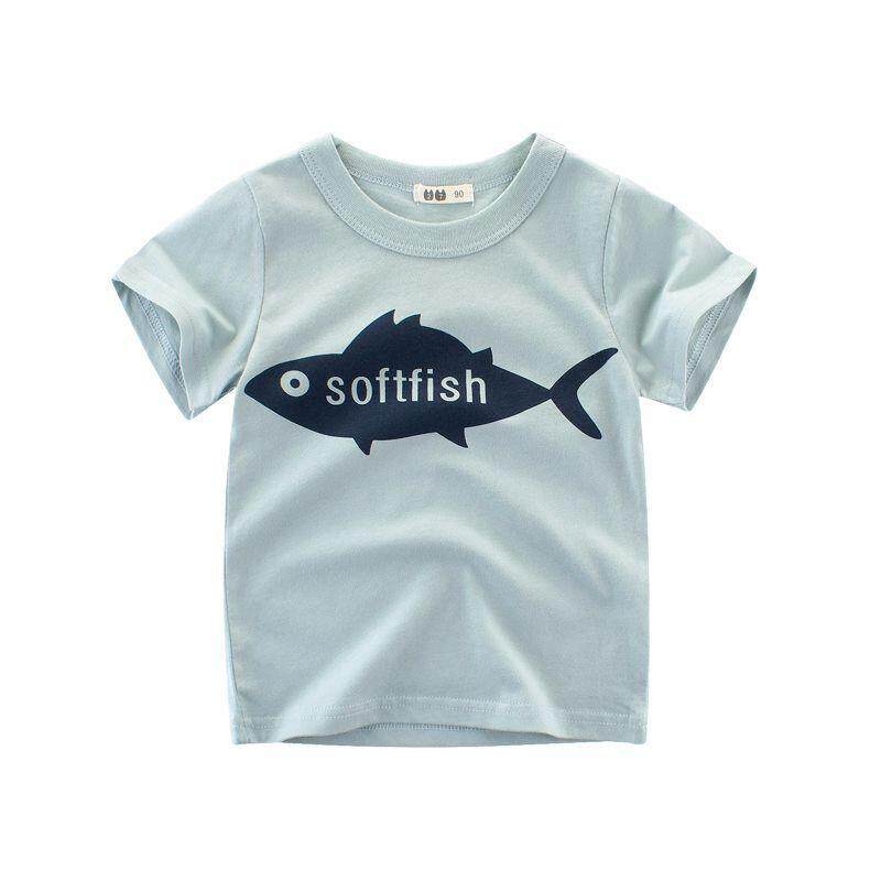 808c1ea1f38 Children s New Summer Baby Short Sleeved Boy T Shirt Cartoon Fish Kids  Tshirts Child Girl Chothing