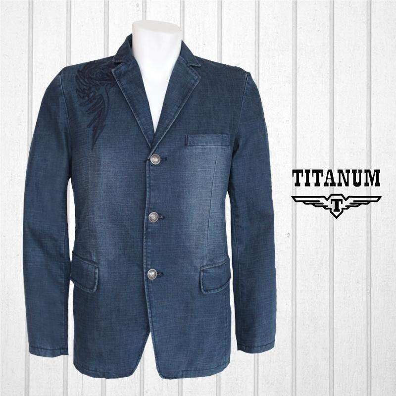 TITANUM BIG SIZE Blue Casual Coat with Lining & Embroidery TIM7002 (Blue)