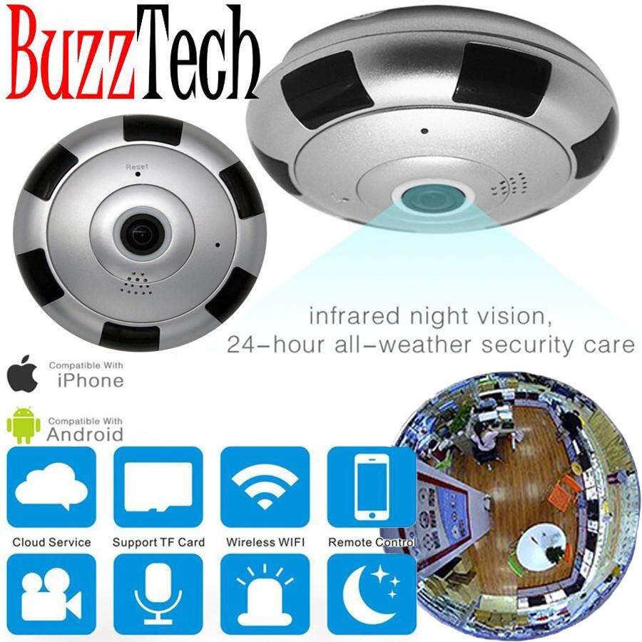 BuzzTech IPV-1 VR 360 Wifi Panoramic Surveillance IP Security Camera CCTV Cam 960P HD