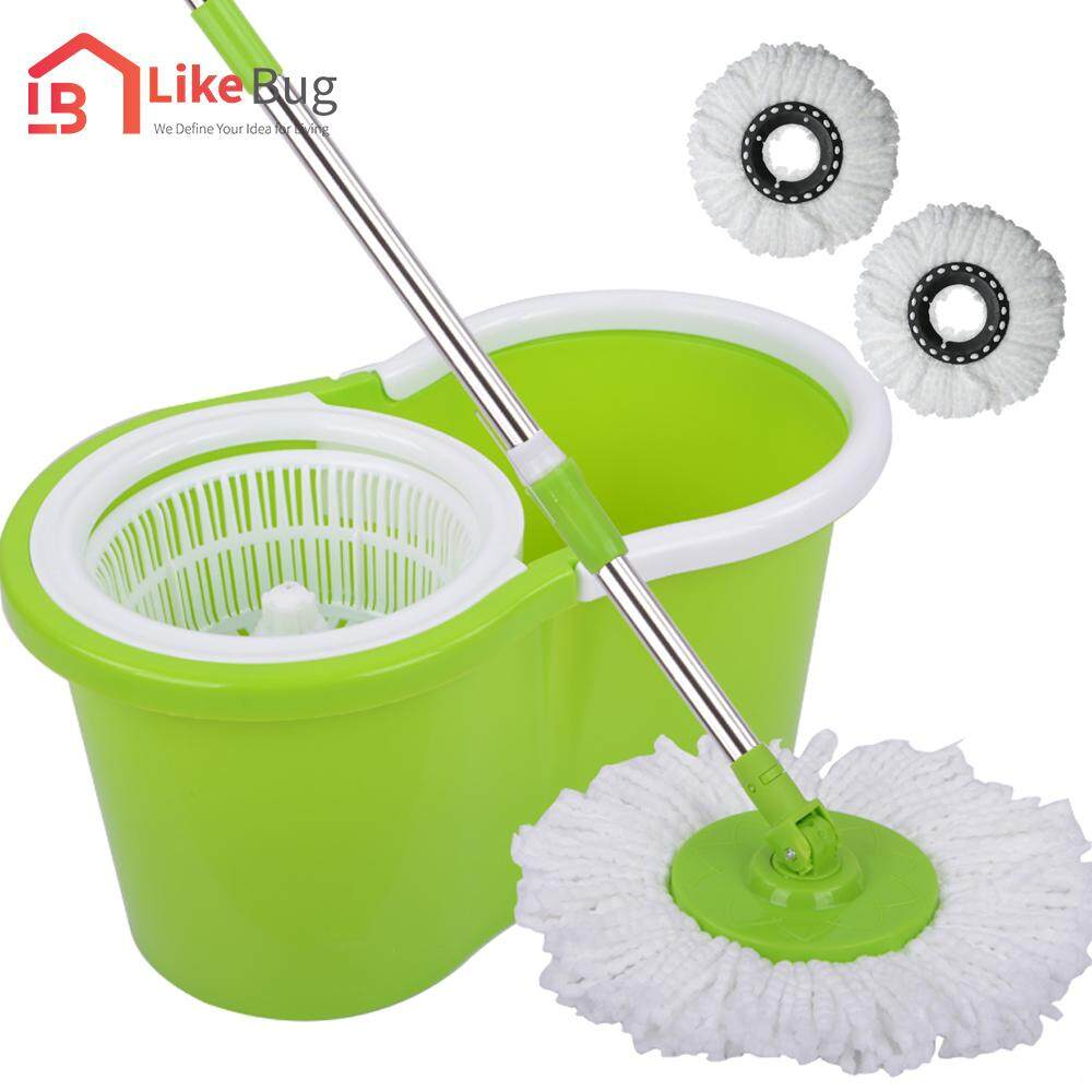 LIKE BUG:Portable Magic Spin Mop Cleaner with 2 Mop Heads