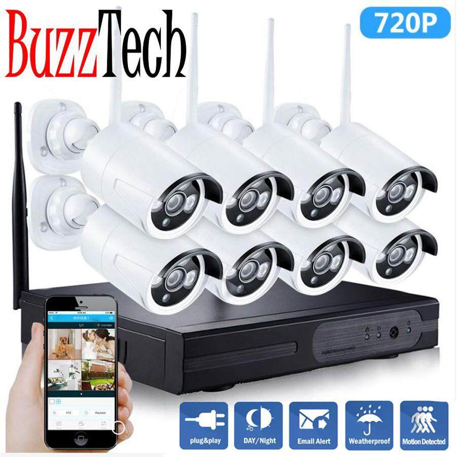 BuzzTech 8CH HD 720P 960P 1080P Wifi NVR Kit 1MP Security IP Camera Outdoor P2P Surveillance CCTV System Wireless Kits 8PCS Night Vision