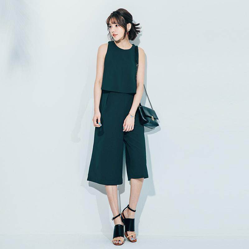 ?PRE-ORDER 21 DAYS?Hong Kong taste sleeveless playful top seven-point wide-leg pants two-piece suit